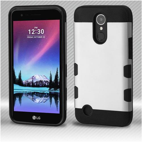 Insten Tuff Hard Hybrid Rubber Silicone Case For LG Harmony/K10 (2017)/K20 Plus - Silver/Black