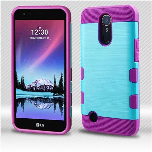 Insten Tuff Hard Hybrid Brushed Silicone Case For LG Harmony/K10 (2017)/K20 Plus - Blue/Purple