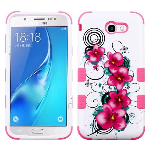 Insten Tuff Morning Petunias Hard Case For Samsung Galaxy J7 (2017)/J7 Perx/J7 Sky Pro/J7 V - White