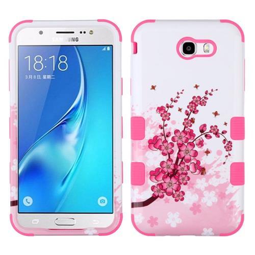 Insten Spring Flowers Hybrid Case For Samsung Galaxy J7 (2017)/J7 Perx/J7 Sky Pro/J7 V, White/Pink