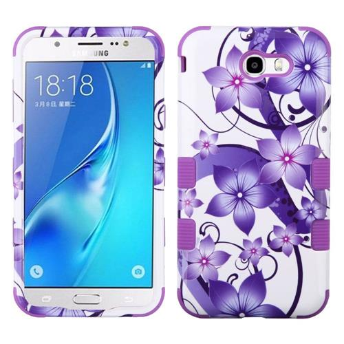Insten Hibiscus Flower Hard Case For Samsung Galaxy J7 (2017)/J7 Perx/J7 Sky Pro/J7 V, Purple
