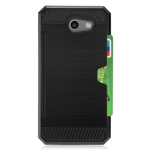 Insten Hard Hybrid TPU Cover Case w/card slot For Samsung Galaxy J3 (2017) - Black
