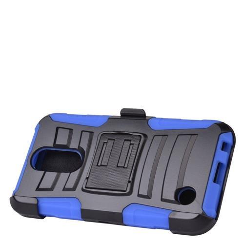 Insten Hard Hybrid Plastic Silicone Case w/Holster For LG K10 (2017)/K20 Plus - Black/Blue