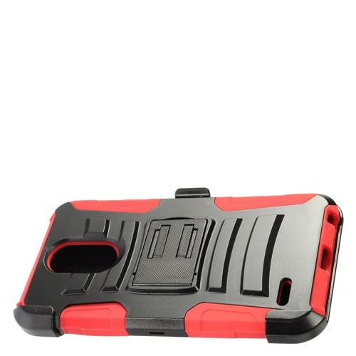 Insten Hard Hybrid Plastic Silicone Cover Case w/Holster For LG Stylo 3 - Black/Red