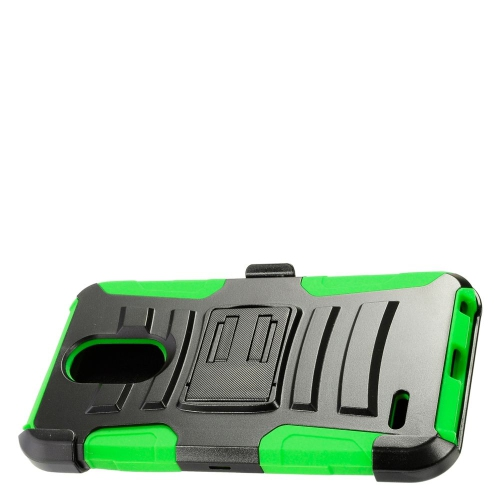 Insten Hard Hybrid Plastic Silicone Case w/Holster For LG Stylo 3 - Black/Green