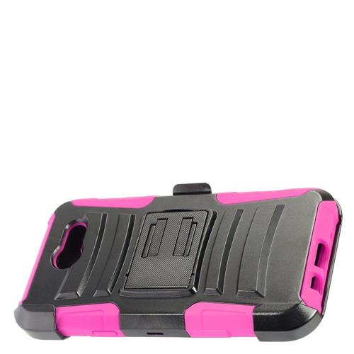Insten Hard Plastic Silicone Cover Case w/Holster For Samsung Galaxy J3 (2017), Black/Hot Pink