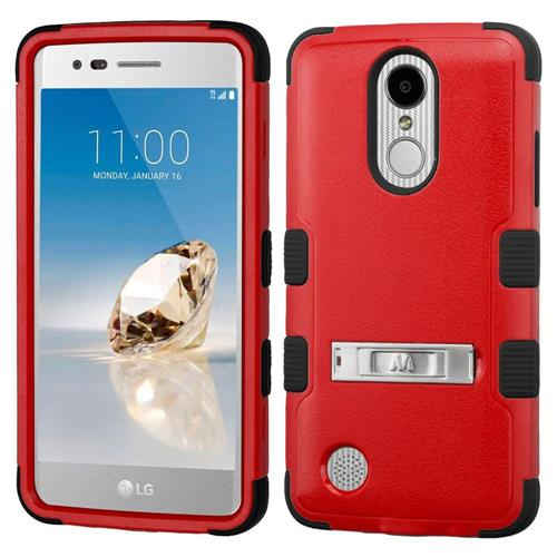 Insten Hard Hybrid Silicone Case w/stand For LG Aristo/Fortune/K8 (2017)/LV3/Phoenix 3, Red/Black