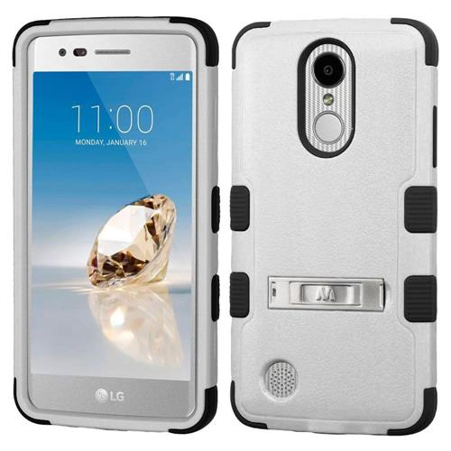 Insten Hard Hybrid Silicone Case w/stand For LG Aristo/Fortune/K8 (2017)/LV3/Phoenix 3, Gray/Black