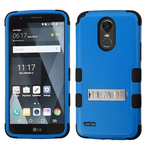 Insten Hard Dual Layer Rubberized Silicone Case w/stand For LG Stylo 3 - Blue/Black