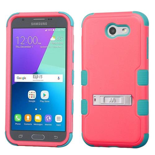 Insten Hard Dual Layer Silicone Case w/stand For Samsung Galaxy Express Prime 2/J3 (2017) - Red/Teal