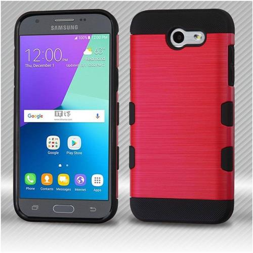 Insten Hard Dual Layer TPU Cover Case For Samsung Galaxy Express Prime 2/J3 (2017) - Red/Black