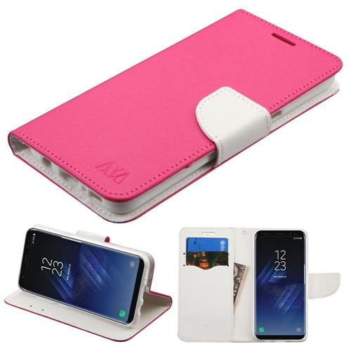 Insten Folio Leather Fabric Cover Case w/stand/card slot For Samsung Galaxy S8 - Hot Pink/White