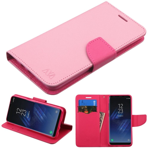 Insten Book-Style Leather Fabric Case w/stand/card slot For Samsung Galaxy S8 - Pink