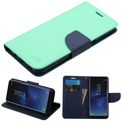 Insten Flip Leather Fabric Case w/stand/card slot For Samsung Galaxy S8 - Teal