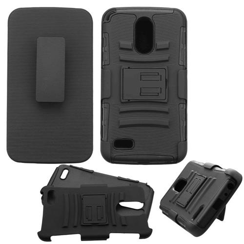 Insten Hard Hybrid Plastic Silicone Cover Case w/Holster For LG Stylo 3 - Black