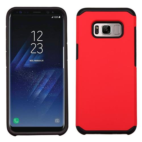 Insten Hard Dual Layer Rubber Coated Silicone Case For Samsung Galaxy S8 - Red/Black