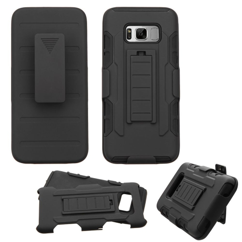 Insten Hard Dual Layer Plastic Silicone Case w/Holster For Samsung Galaxy S8 - Black