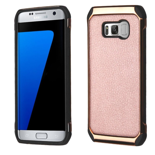 Insten Hard Hybrid Fabric TPU Cover Case For Samsung Galaxy S8 Plus - Rose Gold/Black
