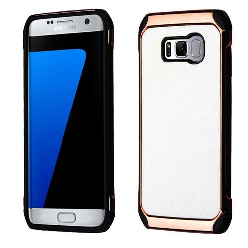 Insten Hard Hybrid Fabric TPU Cover Case For Samsung Galaxy S8 Plus - White/Black