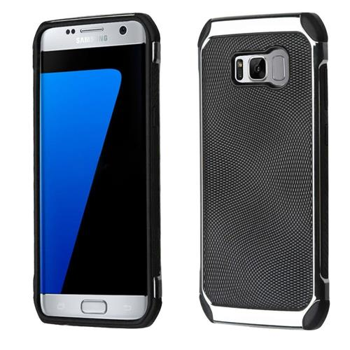 Insten Hard Hybrid Fabric TPU Cover Case For Samsung Galaxy S8 Plus - Black/Silver