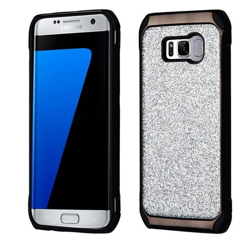 Insten Hard Hybrid Glitter TPU Case For Samsung Galaxy S8 Plus - Silver/Black