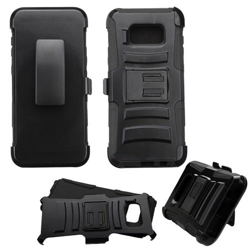Insten Hard Dual Layer Plastic Silicone Cover Case w/Holster For Samsung Galaxy S8 Plus - Black