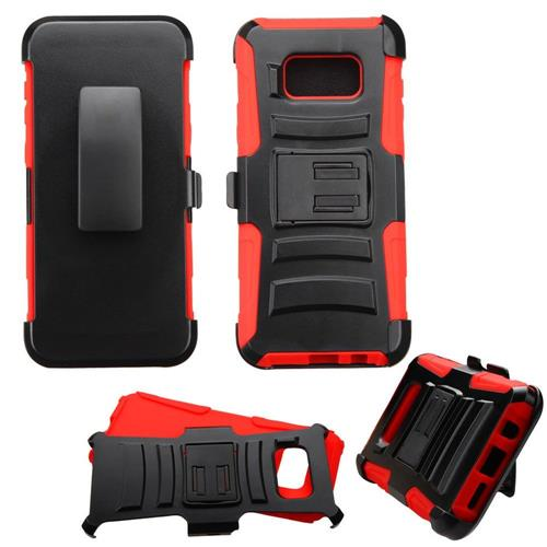 Insten Hard Dual Layer Plastic Silicone Cover Case w/Holster For Samsung Galaxy S8 Plus - Black/Red