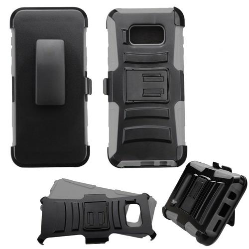 Insten Hard Dual Layer Plastic Silicone Case w/Holster For Samsung Galaxy S8 Plus - Black/Gray