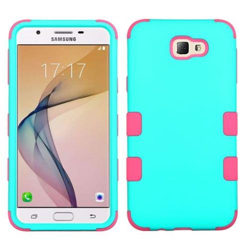 Insten Tuff Hard Dual Layer Silicone Case For Samsung Galaxy J5 Prime/On5 (2016) - Teal/Hot Pink