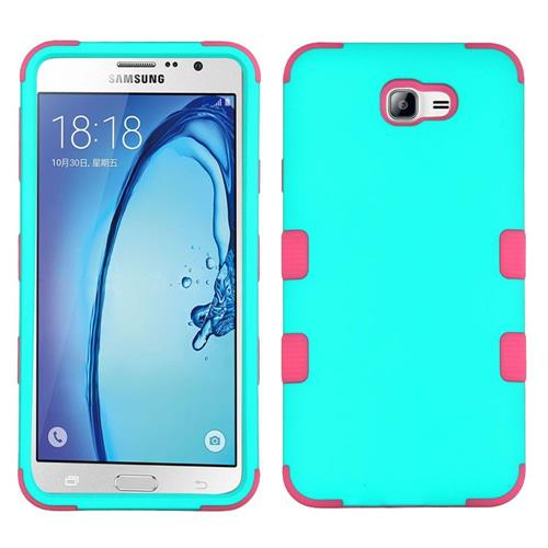 Insten Tuff Hard Dual Layer Rubber Silicone Cover Case For Samsung Galaxy On7 (2016) - Teal/Hot Pink