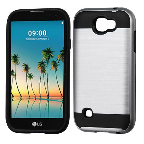 Insten Hard Dual Layer TPU Cover Case For LG K3 (2017) - Silver/Black