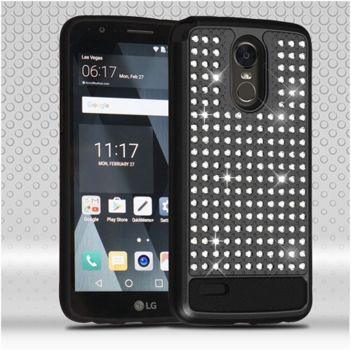 Insten Hard Hybrid Rubberized Silicone Case w/Diamond For LG Stylo 3 - Black