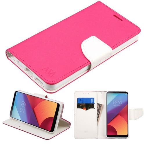 Insten Flip Leather Fabric Cover Case w/stand/card holder For LG G6 - Hot Pink/White