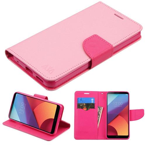 Insten Folio Leather Fabric Case w/stand/card holder For LG G6 - Pink
