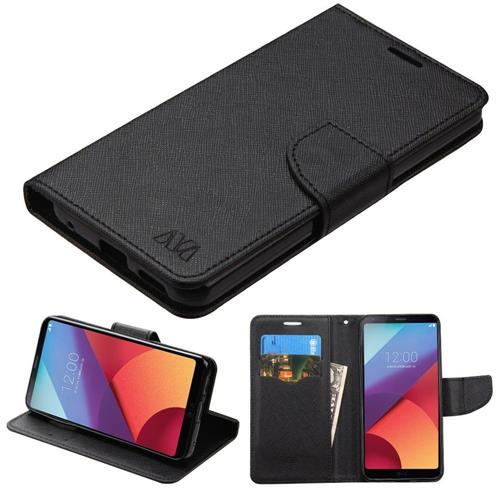 Insten Folio Leather Fabric Cover Case w/stand/card holder For LG G6 - Black