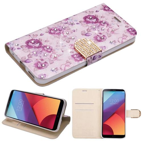 Insten Flowers Leather Fabric Cover Case w/stand/card slot/Diamond For LG G6, Purple/White