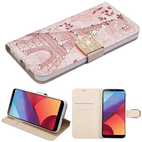 Insten Eiffel Tower Book-Style Leather Fabric Case w/stand/card slot/Diamond For LG G6 - Pink