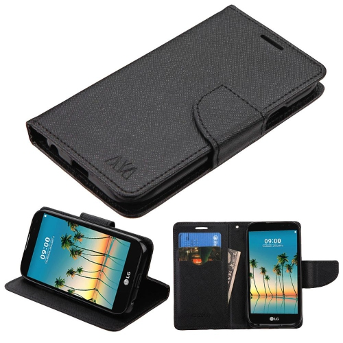 Insten Flip Leather Fabric Cover Case w/stand/card slot For LG K3 (2017) - Black