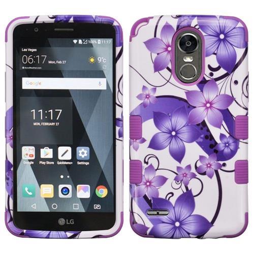 Insten Hibiscus Flower Romance Hard Hybrid Rubberized Silicone Case For LG Stylo 3, Purple/White