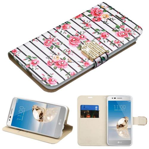 Insten Fresh Roses Flip Leather Fabric Case w/stand/card slot/Diamond For LG Stylo 3 - Pink/White