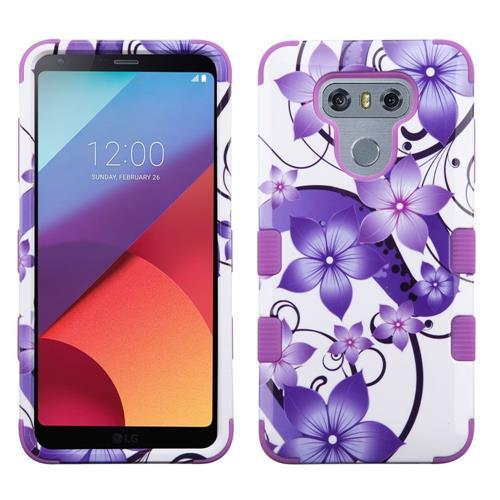 Insten Tuff Hibiscus Flower Romance Hard Hybrid Silicone Case For LG G6 - Purple/White