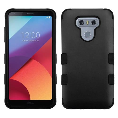 Insten Tuff Hard Hybrid Rubberized Silicone Cover Case For LG G6 - Black