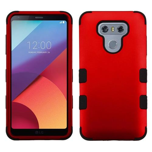 Insten Tuff Hard Hybrid Rubber Silicone Case For LG G6 - Red/Black
