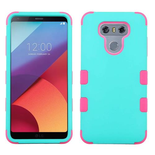 Insten Tuff Hard Dual Layer Rubberized Silicone Case For LG G6 - Teal/Hot Pink