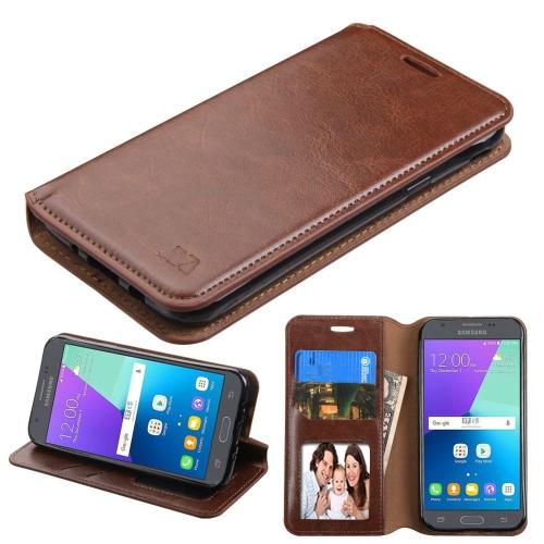 Insten Flip Case w/stand/card holder/Photo Display For Samsung Galaxy J3 (2017), Brown