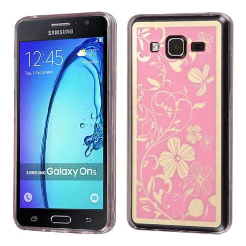Insten Phoenix-tail Flowers Gel Cover Case For Samsung Galaxy On5 - Pink