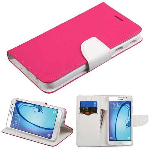 Insten Leather Fabric Case w/stand/card holder For Samsung Galaxy On7 (2016), Hot Pink/White