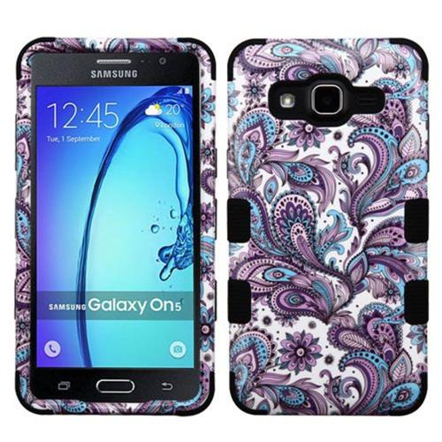 Insten European Flowers Hard Hybrid Rubberized Silicone Case For Samsung Galaxy On5, Purple/White