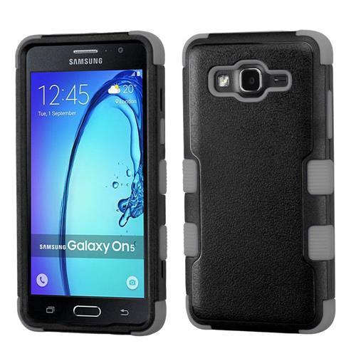 Insten Tuff Hard Hybrid Rubberized Silicone Case For Samsung Galaxy On5 - Black/Gray