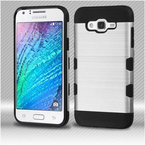 Insten Hard TPU Cover Case For Samsung Galaxy J7 (2015) - Silver/Black